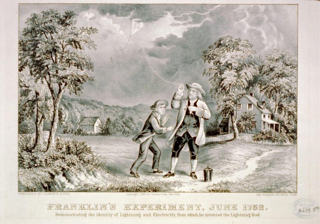 Benjamin Franklin beschreibt die Ladungserhaltung und die Polarität